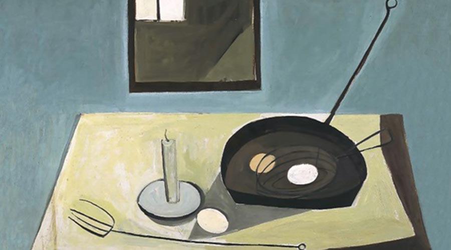quadro dipinto: candela, padella, forchettone