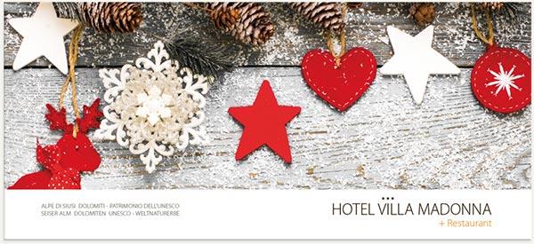 Decorazioni natalizie hotel 3 stelle vilamadonne alpe di siusi